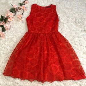 Zara woman medallion lace fit & flare dress